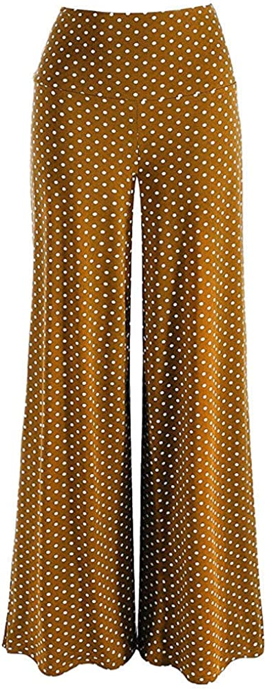 POQOQ Pants Womens High Waist Casual Point Stretchy Wide Leg Palazzo Lounge XL Brown