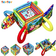 teytoy My First Words Stacked Toys Animal Series Early Education Stacked Crinkle Cloth Baby Toys for 0-24 Months