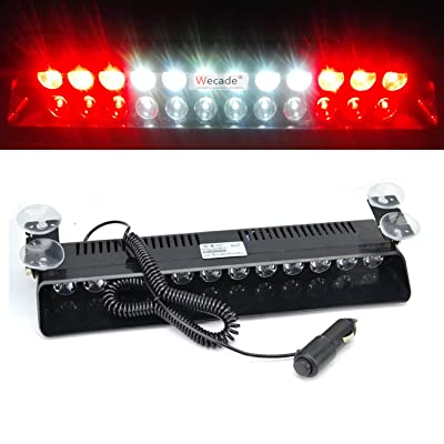 Wecade 12w 12 Leds Car Truck Emergency Strobe Flash Light Windshield Warning Light (Red/White/White/Red): Automotive