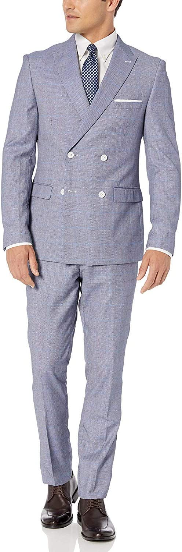 Suit Set Adam Baker Mens Slim Fit Double Breasted 2-Piece Jacket /& Pants