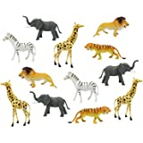 "Boley 12pc Jumbo Safari Animals - 9"" Assorted Jungle Animals and Zoo Animals - Great Educational Toy for Toddlers"