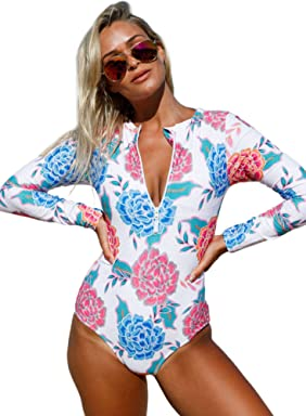 b0e5fdf3eb003 ROSKIKI Womens Zip Front Printed Long Sleeve One Piece Swimsuit