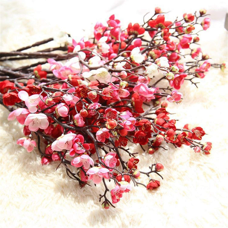 Artificial Cherry Plum Blossom Silk Flowers Plastic Sakura Tree Home Table Decor