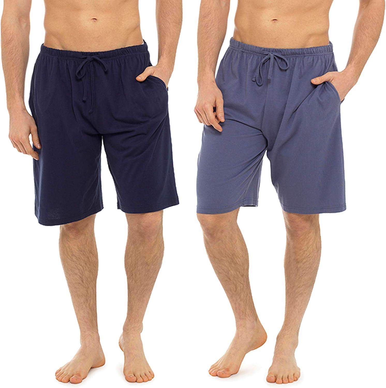 i-smalls Mens Pack of Two Plain Design Jersey Lounge Shorts Pyjamas PJ Bottoms Nightwear with Eye Mask