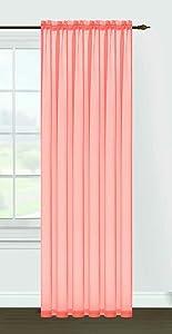 Editex Home Textiles Monique Sheer Window Panel, 55 by 84-Inch, Peach