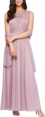 Alex Evenings Womens 81701003 A-line Dress with Shawl Short-Sleeve Mother of The Bride Dress - Pink