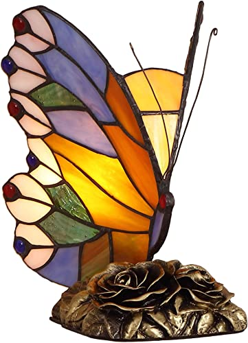 Bieye L11406 Butterfly Tiffany Style Stained Glass Accent Table Lamp Night Light for Bedside Living Room Bedroom, 8 W x 9 H