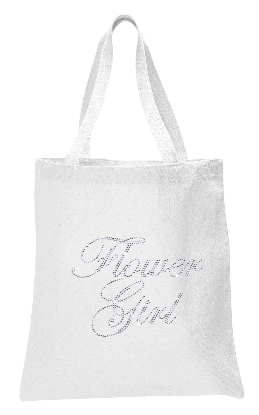 Varsany White Flower Girl Luxury Crystal Bride Tote bag wedding party gift bag Cotton