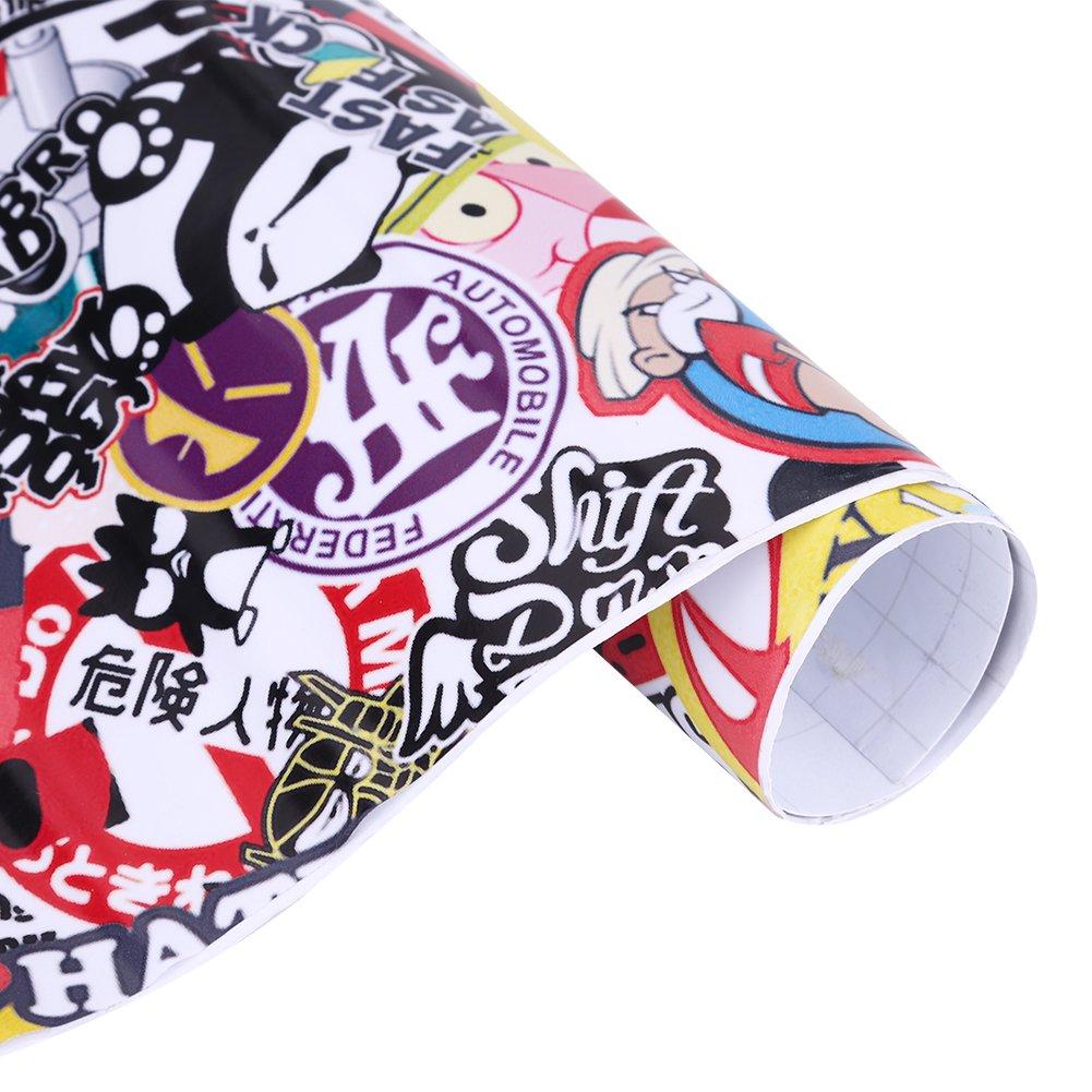 75 cm Auto Coche Motocicleta Bicicleta de Dibujos Animados Pegatinas Rock Panda Graffiti Bomba Pegatina Wrap Sheet Roll Decals Pel/ícula Calcoman/ías de equipaje Pegatinas de skate 50