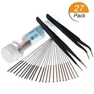 3D Printer Nozzle Cleaning Tool Kit - 0.4mm 0.35mm Needles Tweezers Filament Clog Cleaner Accessories Part Drill Bits 27pcs Mika3D