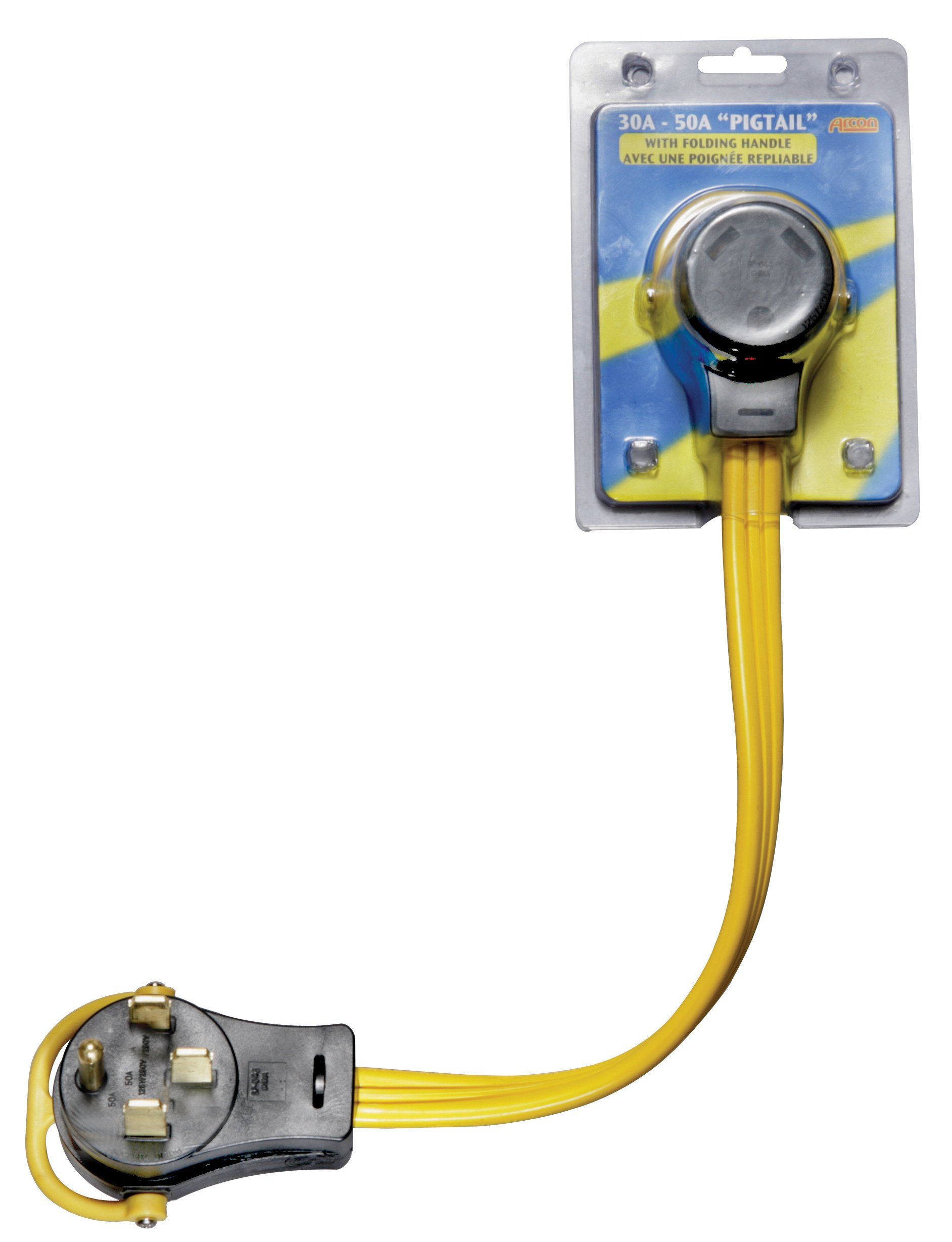 Arcon 14368 Generator Pigtail Power Cord 30-Amp Female to 50-Amp Male 18-Inch Flat Wire