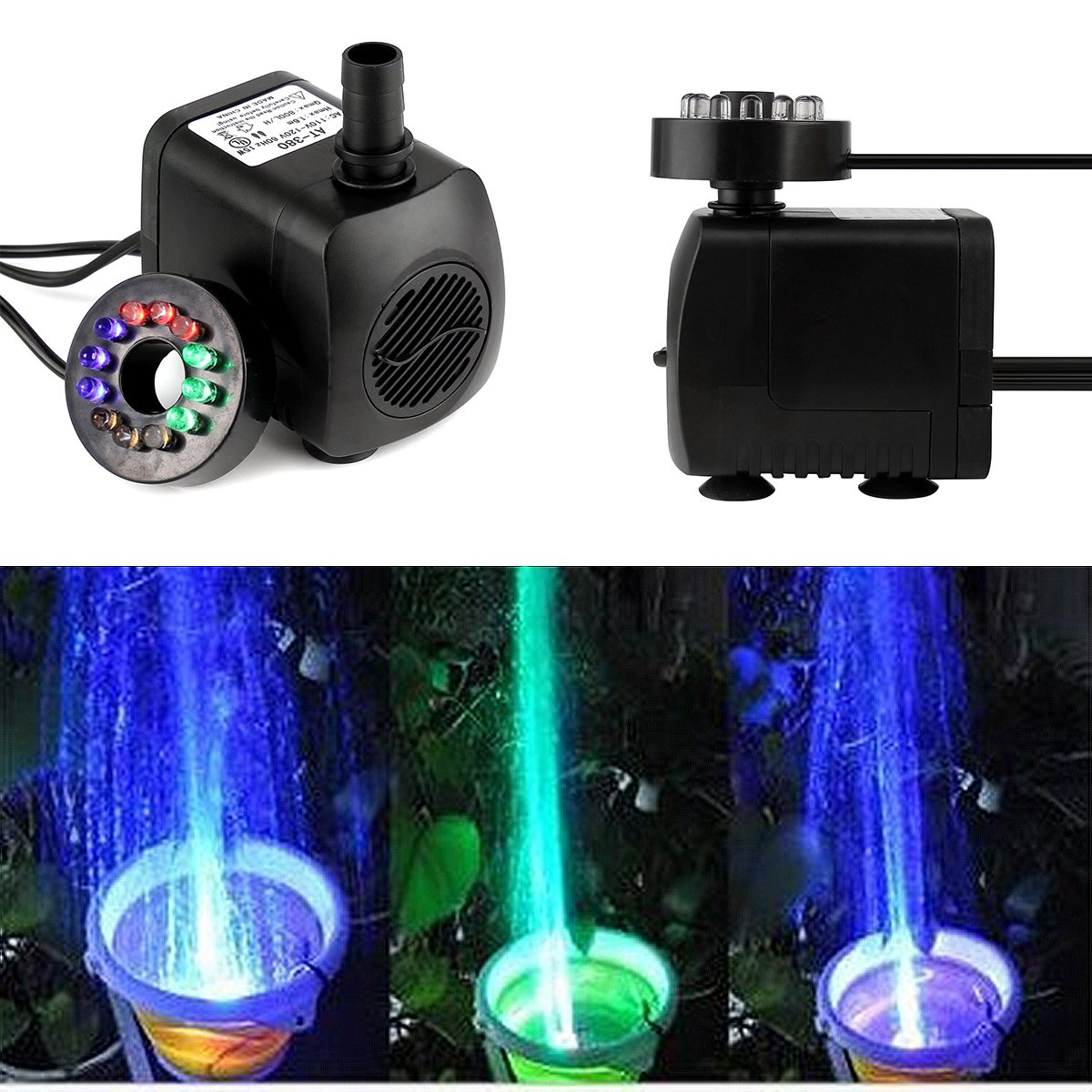 SOONHUA 12 LED Light Submersible Water Pump Aquarium KOI Fish Pond Fountain Pump 8W 600L/h