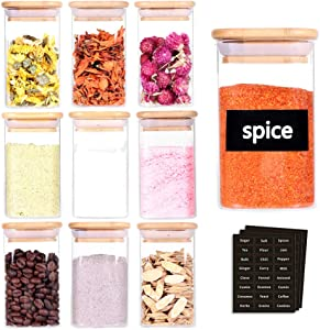 Tzerotone 10 Pcs Glass Spice Jars - 8oz Empty Square Spice Storage Containers With Bamboo Airtight Lid and Labels - Thicken Small Glass canister for Kitchen Seasoning,Coffee Bean,Tea,Suger,Herbs