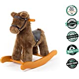 Labebe Wooden Rocking Horse for Toddler, Boy & Girl, Rocking Animal/Rocker/Ride-on Toy for 1-3 years old, Stuffed Animal Seat, ASTM/CE/ Safety Certified, Creative Birthday Gift - Brown Knight Horse