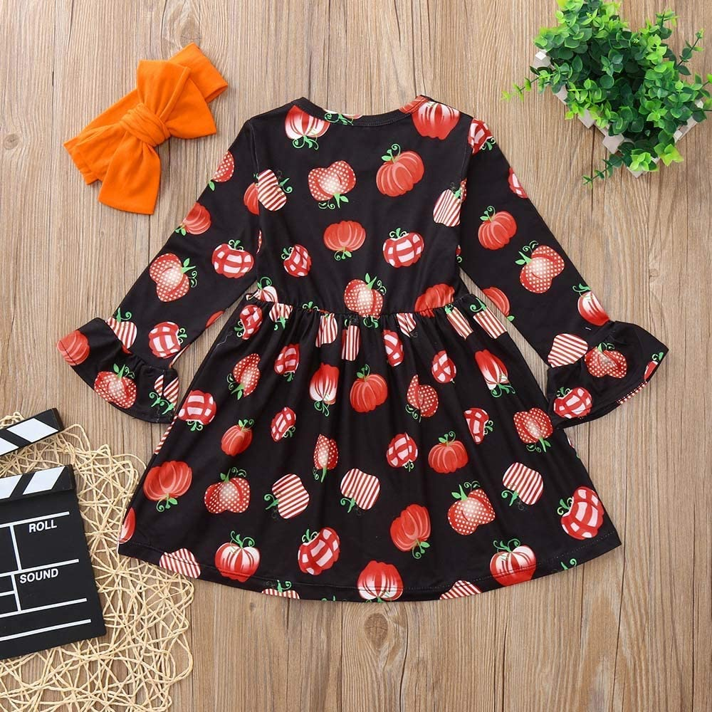 LIKESIDE Kids Baby Girls Long Sleeve Pumpkin Print Dresses Headband Halloween Outfits