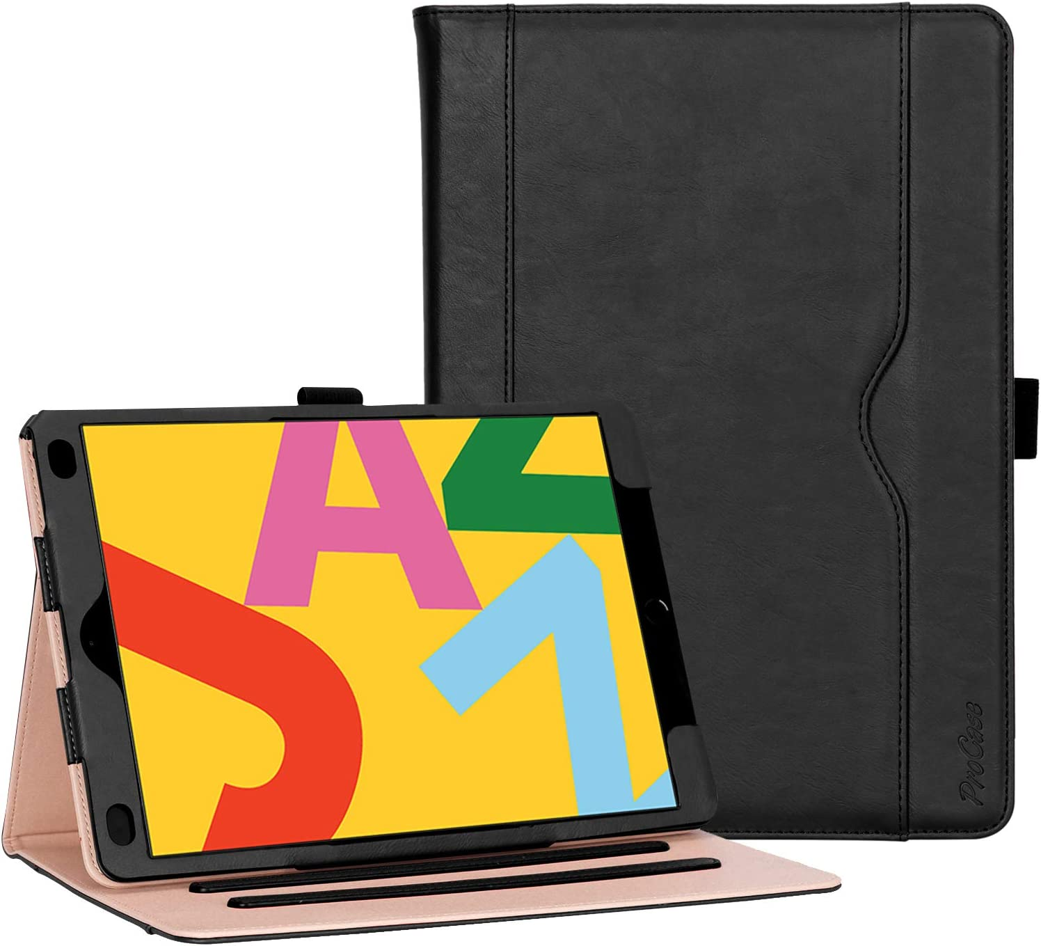 """ProCase iPad 10.2"""" Case 2019 7th Generation iPad Case, Leather Vintage Stand Folio Cover Protective Case for 2019 iPad 7th Gen 10.2 Inch (A2197 A2198 A2200) –Black"""