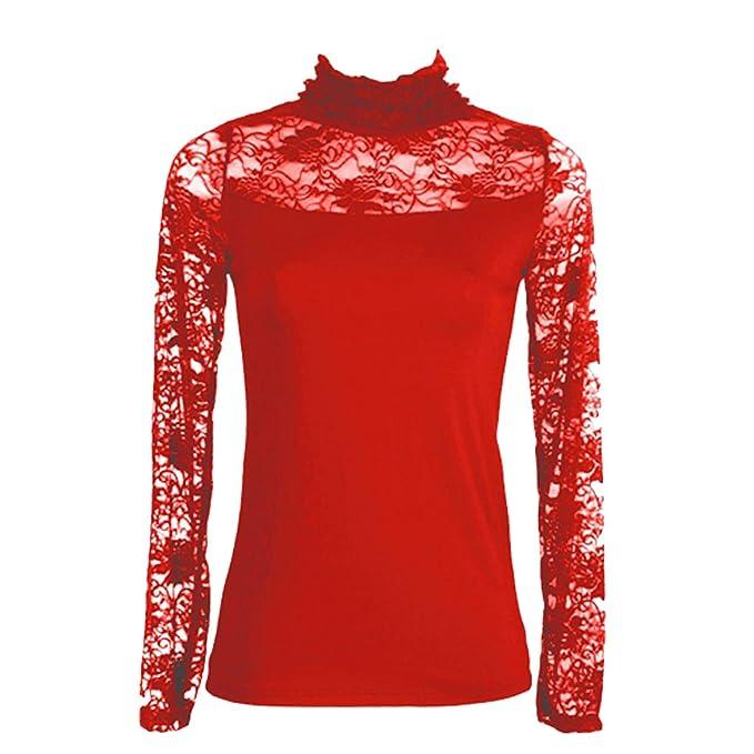 716a7dd3e7 Toocool - Lupetto Donna Collo Alto Dolcevita Sottogiacca Top Maglia Pizzo  Floreale AS-1058[Rosso]: Amazon.it: Abbigliamento