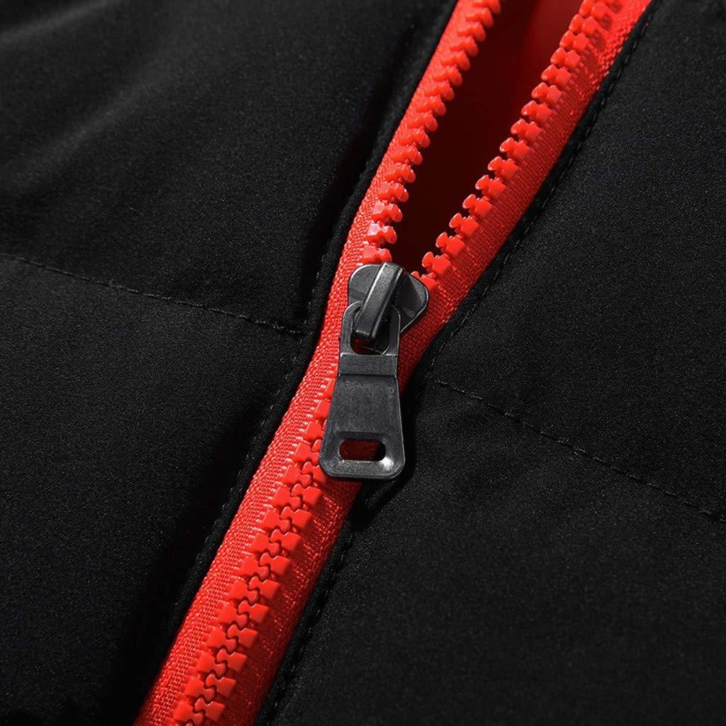 OMINA Mens Winter Cotton-Padded Jacket Hoodie Fleece Warm Slim Fit Color Block Coat Fashion Casual Black Outwear