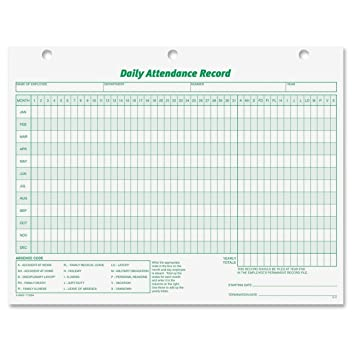 Amazon.Com : Tops Daily Attendance Record, 8.5 X 11 Inches, 50