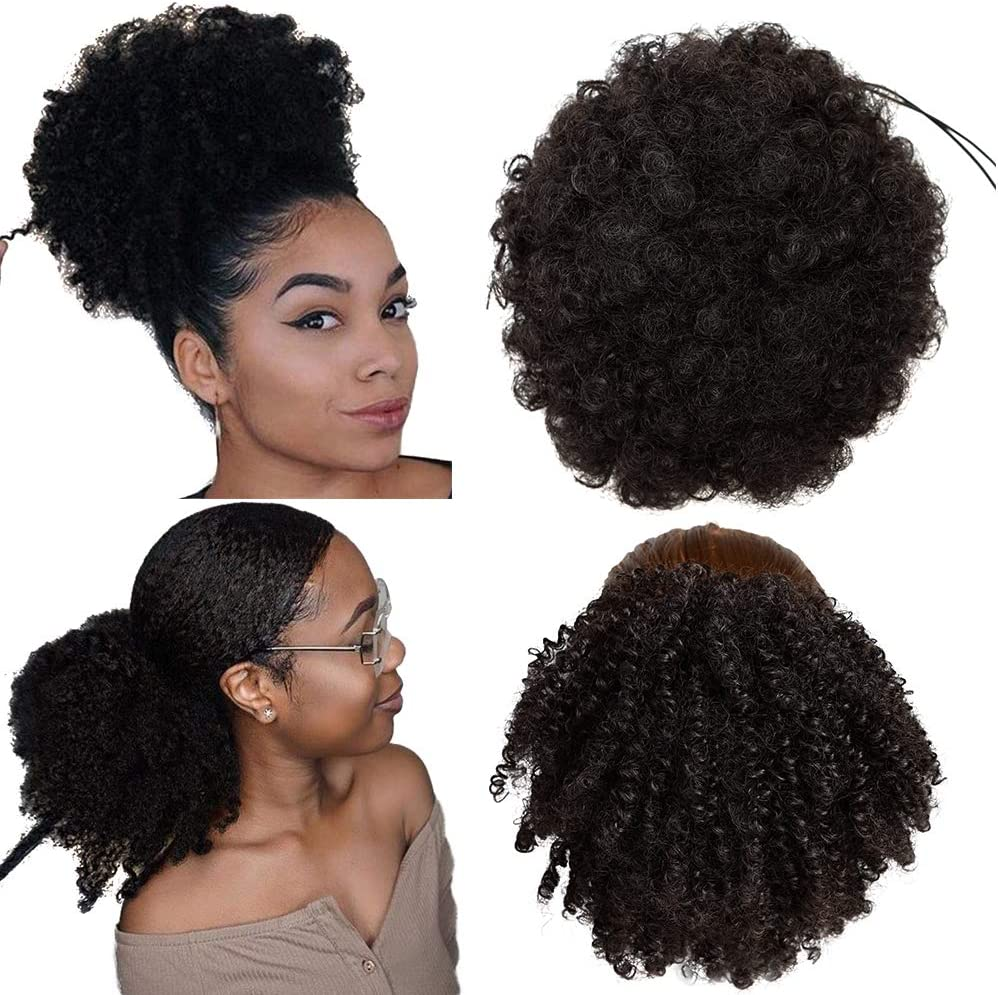 2 piezas de moño de pelo afro con cordón negro sintético, colas de caballo rizadas y rizadas, extensiones de cabello recogido, clip en postizos de cola de caballo para mujeres negras (2#)