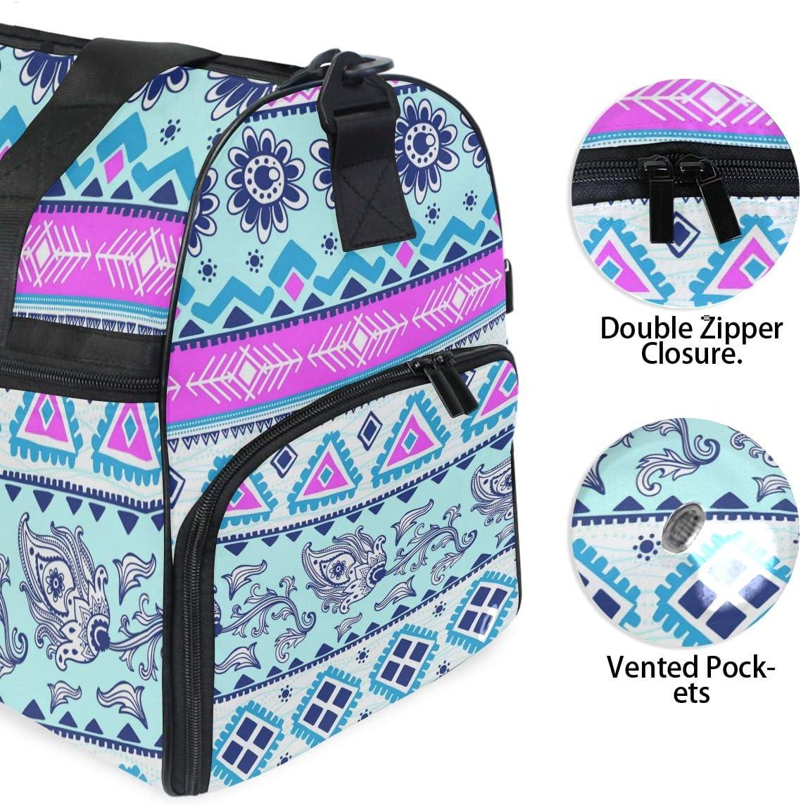 MALPLENA Bohemian Style Print Packable Duffle Bag For Men Women Tear Resistant Sports Duffle