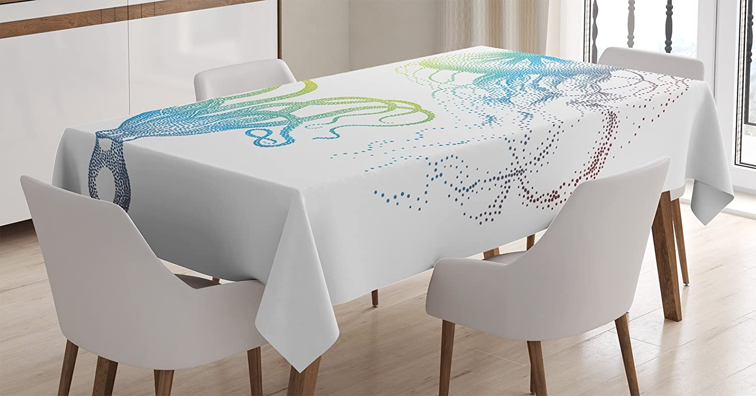 Ambesonne Octopus Tablecloth Octopus And Jellyfish Illustration Nautical Themed Art Underwater Wildlife Marine Rectangular Table Cover For Dining Room Kitchen Decor 60 X 90 White Blue Home Kitchen