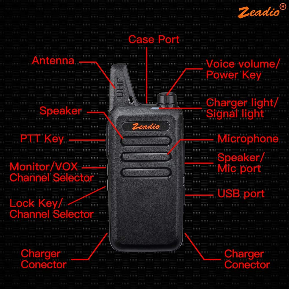 Zeadio 400-470MHz Ultra-Thin Lightweight Walkie Talkie, 16-Channel Long Range License-Free Single Band Slim Two-Way Radio with Belt Clip and Integrated Antenna Pair of 2