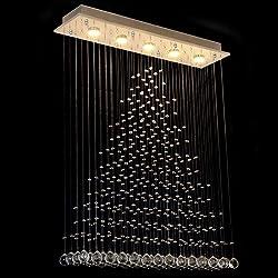 "Lumos L32"" X W8"" X H40"" Rain Drop LED Crystal Rectangle Chandelier / Flush Mount / LED Lighting/ Ceiling Light Fixtures for Living Room /Dining Room/ Foyer /Bedroom(5 Lights)"