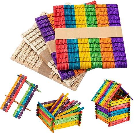 Anphsin 200 piezas de varillas de madera y dentado, palitos de ...