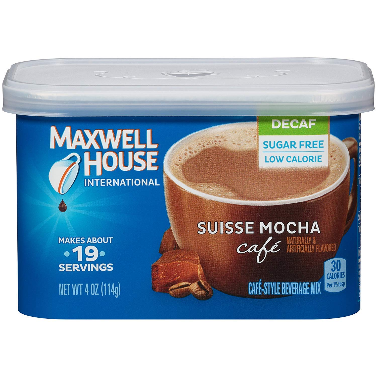 Maxwell House International Sugar-Free Decaf Suisse Mocha Beverage Mix, 4 oz Tub (Pack of 9) ((Pack of 9))