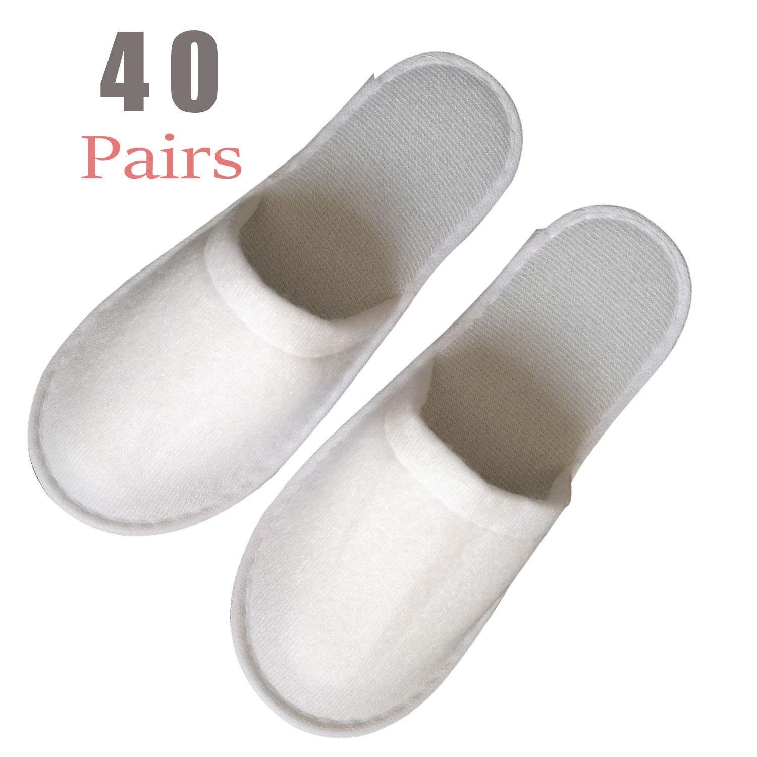 Pull plush 40 Pairs Slippers Women and Men Disposable Portable Slippers, Women Slipper Hotel Disposable Spa Slippers Men Portable Comfortable Non-Slip Sole One Size Fit Most Men and Women Spa-