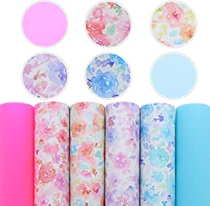 """David Angie Solid Colors Floral Faux Leather Sheet Transparent Synthetic Leather Sheet Assorted 6 Pcs 7.9"""" x 13.4"""" (20 cm x 34 cm) for Earrings Hair Clips Headbands Covers Making (Floral)"""