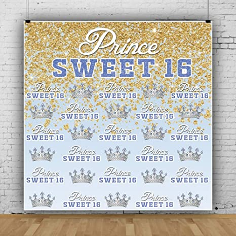 Laeacco Princess Sweet 16 Theme Backdrop 10x10ft Silver Crown Vinyl Photography Background Light Pink Golden Glitter GOTS Girls Birthday Party Banner Poster Studio Photo Props Portraits Shoot Decor