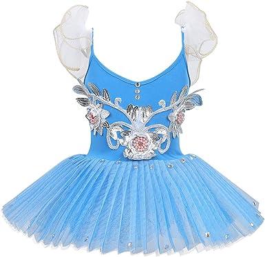dPois Maillot Niña Ballet con Falda Plisada Manga Corta Vestido de ...