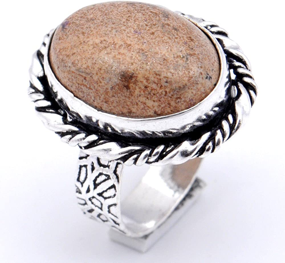 Handmade Jewelry Ancient Brown Picture Jasper Sterling Silver Overlay Ring Size 7 US