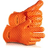 2018 Hot Sale BBQ Grilling Gloves Oven Mitts Gloves for Cooking Baking Barbecue Potholder(Orange)