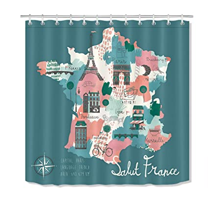Amazon LB Eurpore Travel Shower Curtain With The Map Of The