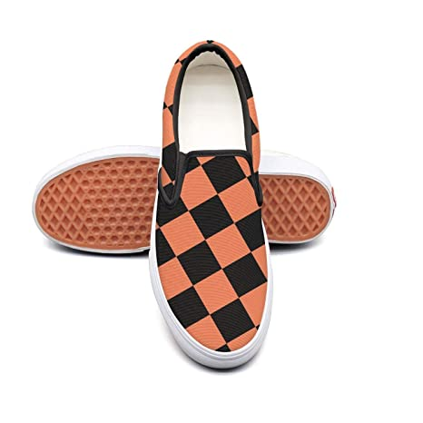 ad62502b697e7 Amazon.com: xcvrf4i Black Orange Checkered Squares Checker Women ...