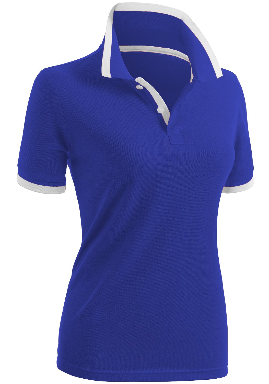 CLOVERY Women's Casual Design Short Sleeve PK Polo Shirts Cobalt US M/Tag M