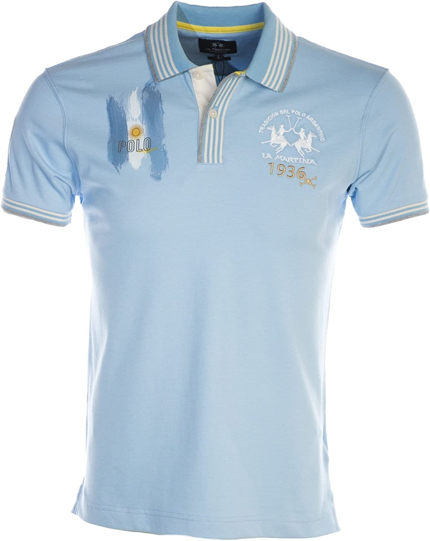La Martina Hombres Camisa de Polo Slim Fit Escobar XXL Azul ...