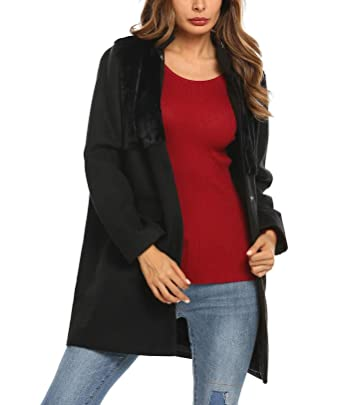 109a2464007 Bulges Womens Black Wool Coat Oversized Stand Collar Faux Fur Patchwork  Jacket Outwear