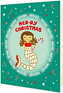 product image for Night Owl Paper Goods Mermaid Christmas Folded Holiday Cards, 10 Pack
