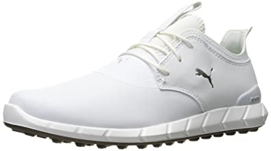 PUMA Golf Men's Ignite Spikeless Pro Golf Shoe, White White/Silver, ...