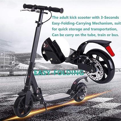 Amazon.com: ZAIHW Kick Scooter con frenos de disco, diseño ...