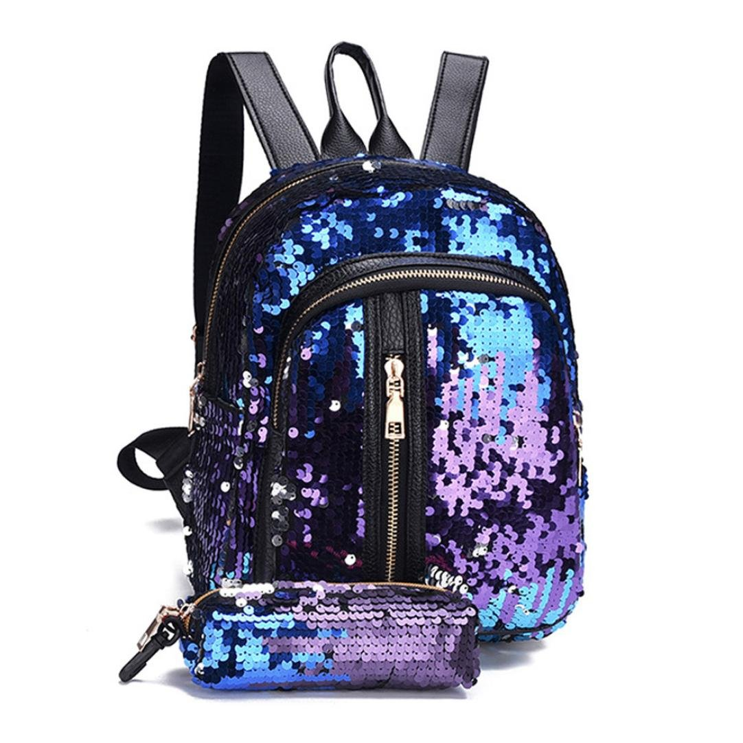 Sumen Gift for Juniors Teen Girls Sequins Backpack Travel Shoulder Satchel Bag and Wallet (Blue) by Sumen Bag (Image #2)