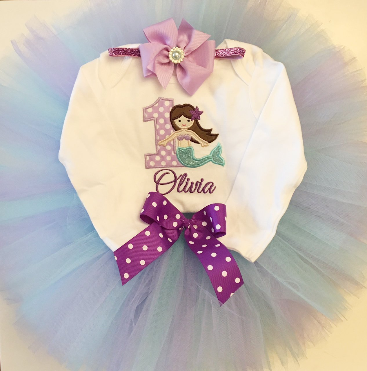 12dbd6a19 Amazon.com: Mermaid 1st Birthday Tutu Outfit- Personalized Baby Girl:  Handmade