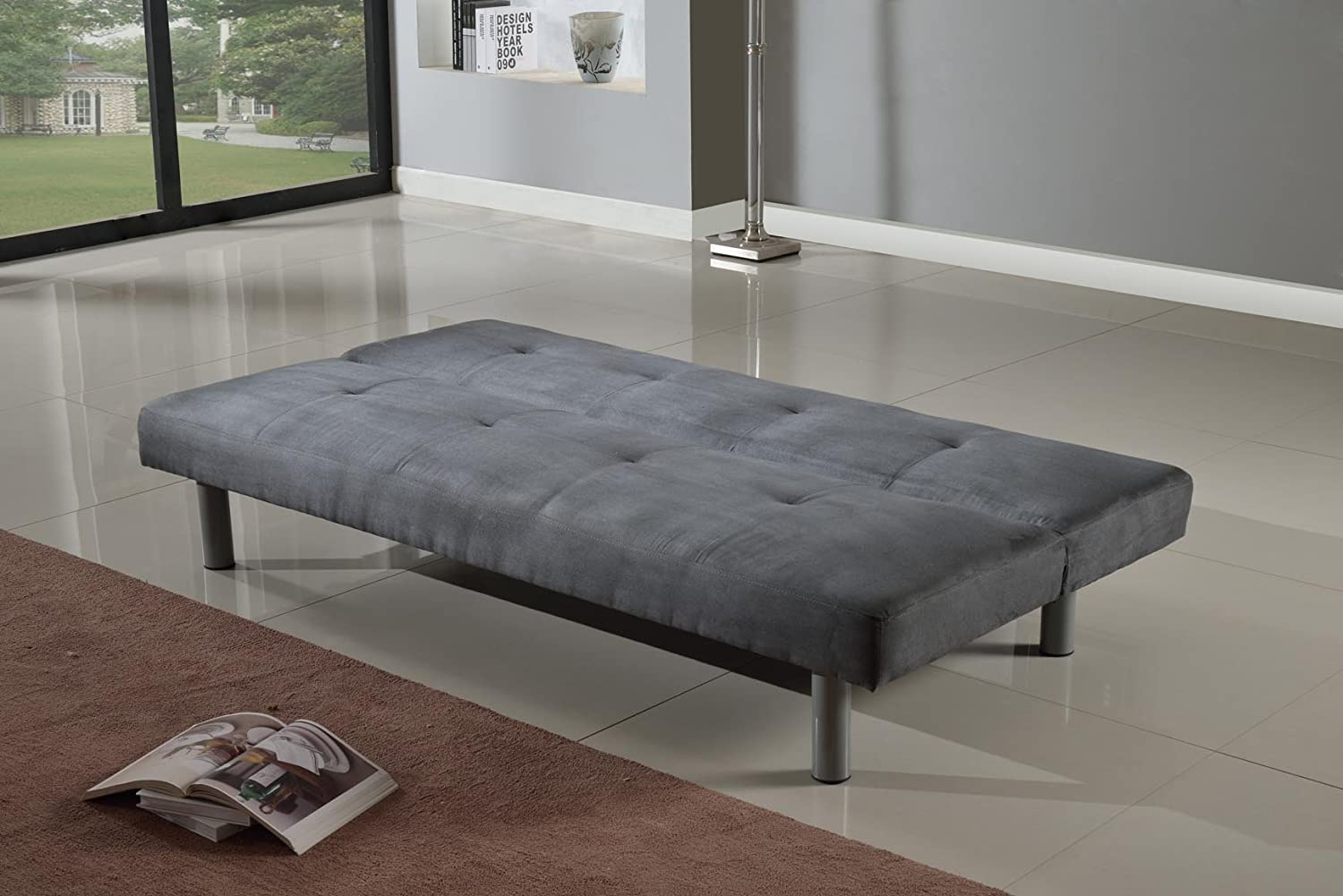 Faux Suede 3 Seater Quality Sofa Bed   Click Clac Fabric Sofabed In GREY:  Amazon.co.uk: Kitchen U0026 Home