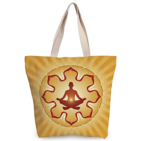 Amazon.com: Personalized Canvas Tote Bag,Yoga Decor,Lotus ...