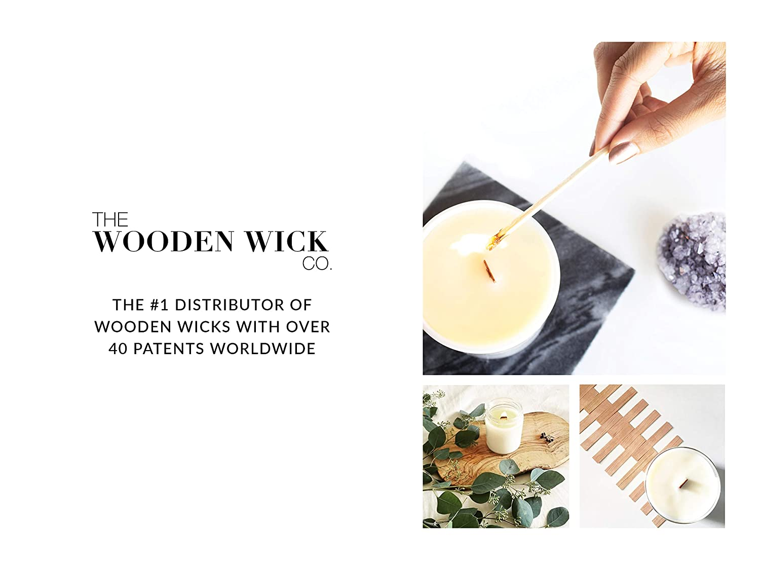 "The Wooden Wick Co Authentic Wood Wick Candle Making Supplies with Metal Stand 5/"" Candle Wicks /""The Whisper Booster Wick .02/"" for Vegetable Blended /& Beeswax with Jar Diameter 3 to 3.5"