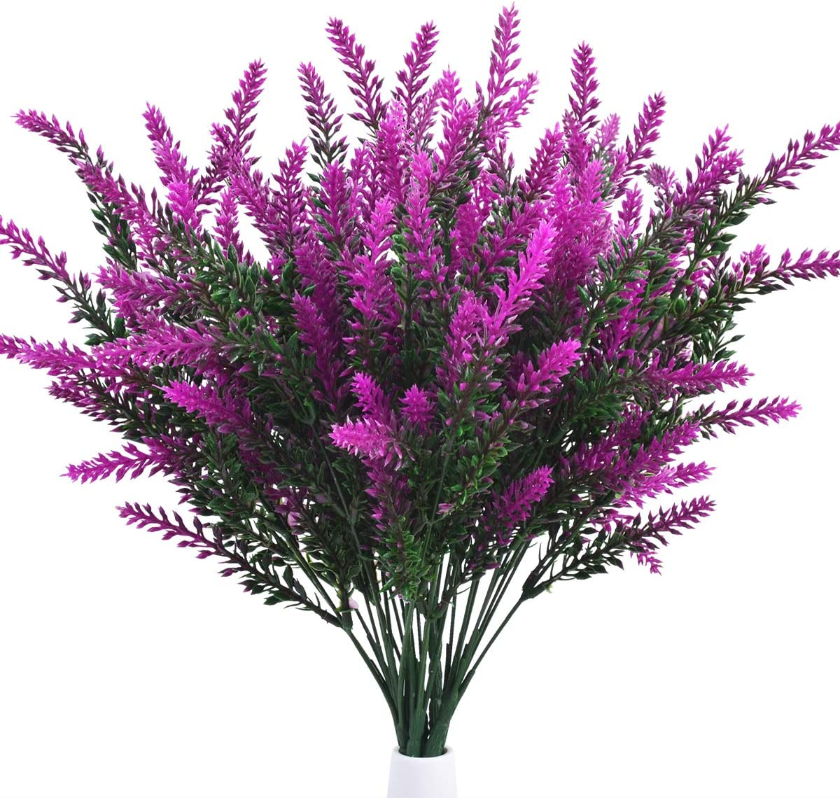 8 Bundles Artificial Lavender Outdoor Fake Flowers UV Resistant Plants, Faux Plastic Flowers Greenery Shrubs Plants for Indoor Outside Hanging Planter Home Wedding Garden Farmhouse Decor (Magenta)